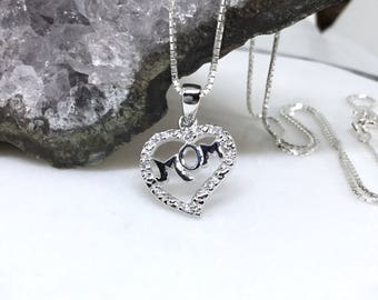 Mom Heart Necklace Sterling Silver Heart Mom Pendant CZ Diamond Mom Word Charm Cubic Zirconia Mother's Necklace Delicate Mom's Gift
