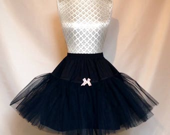 Sew Voluminous...Ultra Stiff Net Petticoat Black Ivory White Pink SHORT Version Made to Order