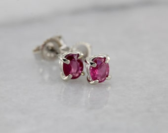 Simple Ruby Stud Earrings in White Gold T2A4CW-R