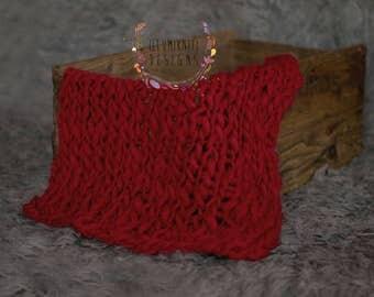 "Knit Mini Blanket - Ox Red - 18"" x 19"" - Merino Bump Blanket - Newborn Photography Prop - Ready to Ship Newborn Prop - Knit Blanket Prop"