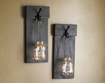 Distressed Wooden Sconce Set, Lighted Wall Sconces, Mason Jar Sconces,  Rustic Wall Hangings Part 87