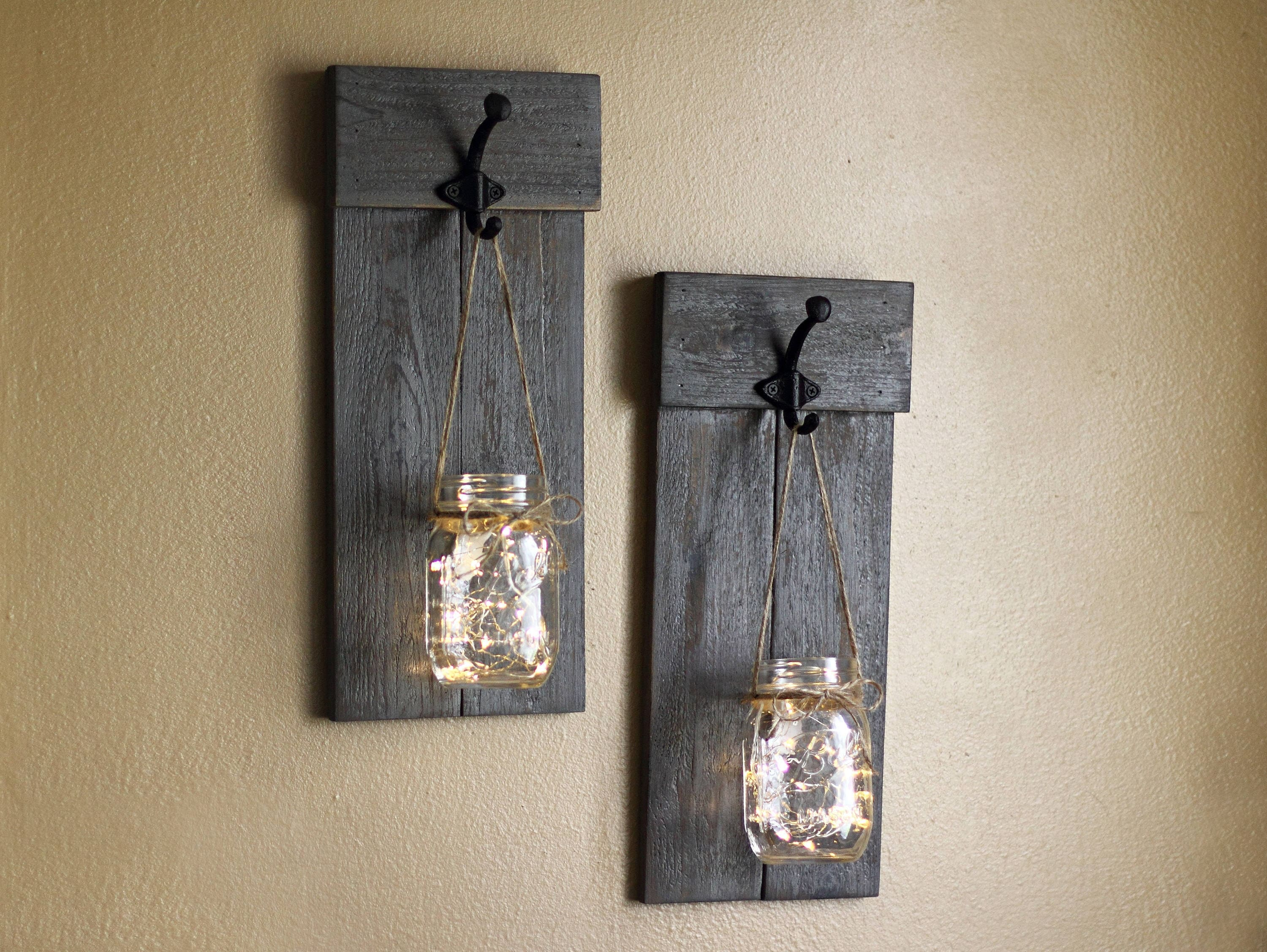 Distressed wooden sconce set lighted wall sconces mason jar zoom amipublicfo Images