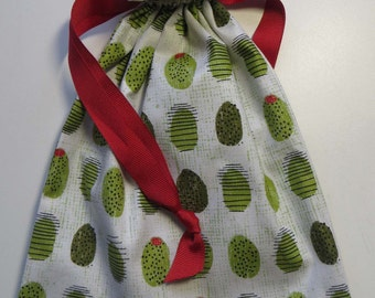 Olive With Pimento - Lined Drawstring FAbric Gift Bag
