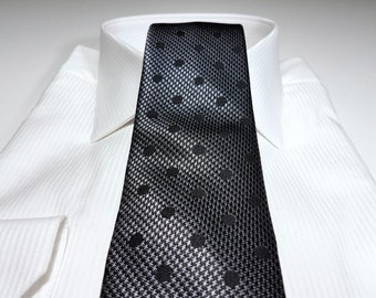 Silk Tie in Polka Dots with Black Platinum Charcoal Grey Houndstooth