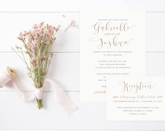 Farmhouse Calligraphy Wedding Invitation Set, Vintage Wedding Invitations, Elegant Invites, Farm and Country Invites, Barn Wedding Invites