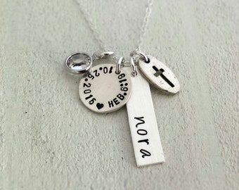 Personalized Charm Necklace, Holy Communion, Confirmation, Baptism, Sterling Silver, Hand Stamped, Cross Necklace with Bible Verse