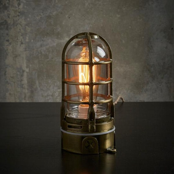 Industrial Lamp Antique Brass Cage Light Steampunk Metal