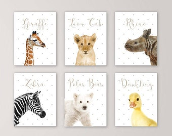 Safari Wall Art zoo animals canvas nursery decor wall art safari animals