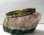 Vintage Mid-Century Spanish Damascene Hinged Bangle Bracelet