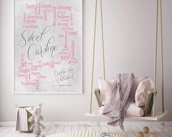 Baby Room Art, Nursery Art, Baby Caroline - Sweet Caroline - Neil Diamond - Baby Room Art - Personalized names, date pick colors verse print