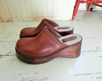 """1990's, Genuine Leather, Brown Clogs, 3""""  Wood Heel,  Women's Size 10, Made in Brazil"""