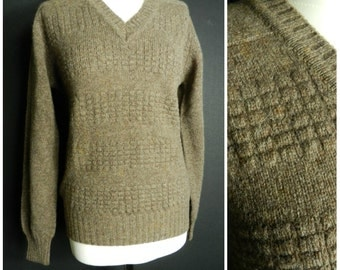60s PURE NEW Wool biscuit nutmeg brown V NECK raised square knit deadstock jumper M L
