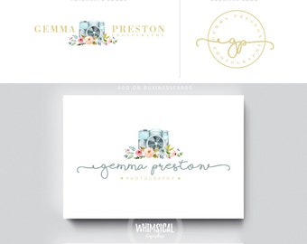 WATERCOLOR camera PHOTOGRAPHY logo businesscards - floral camera- feminine branding- Brand Identity for Children and family photographer