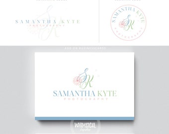 Soft dandelion initials  luxury pastel initials businesscards cute photo feminine branding- logo Identity artist makeup wedding photographer