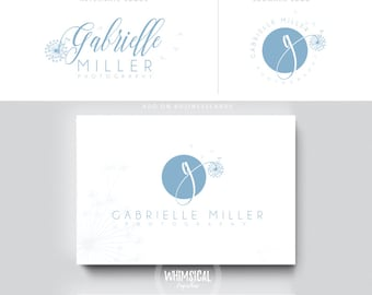 Soft dandelion initials  luxury pastel initials businesscards cute photo feminine branding- logo Identity artist makeup wedding photographer