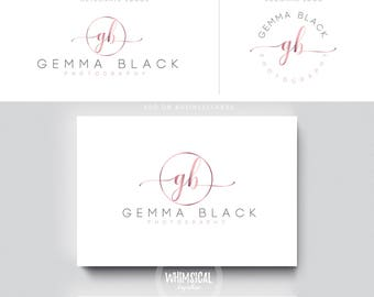 rose gold initlas 1  brush gold initials businesscards  simple modern feminine branding- logo Identity artist makeup wedding photographer