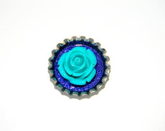 NEW Bottle Cap Magnet - Teal 3-D Rose - Single Magnet