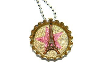 NEW Eiffel Tower - Paris Star - Glitter Bottle Cap Necklace