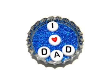 NEW Bottle Cap Magnet - I heart Dad - Single Magnet