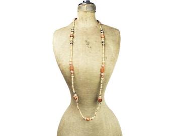 Long Wood Bead Necklace, Chunky Wood Bead Necklace, Chunky Wooden Bead Necklace, Natural Wood Bead Necklace, Painted Wood Bead Necklace