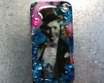 Domino magnet Marlene Dietrich tophat vintage hollywood with jewels blue glitter