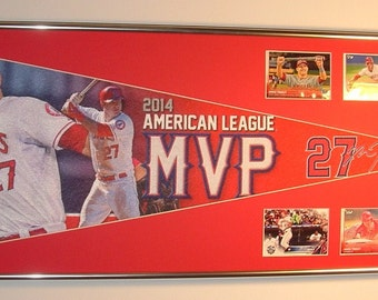 MLB California Angels Mike Trout Pennant & Cards...Framed!!!