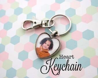Heart Photo Keyring - Custom Photo Keychain - Personalized Key Chain - Photo Keychain - Picture Keychain - 25 mm Heart