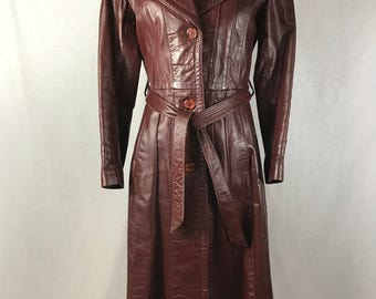 Vintage Cosa Nova Burgundy Red Leather Trench Coat // 1970's