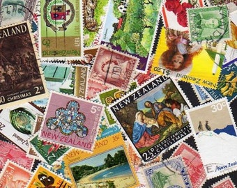 50 Diff New Zealand Stamps, Postage Stamps, New Zealand, New Zealand Postage Stamps,Stamp Collection, Stamps,Decoupage