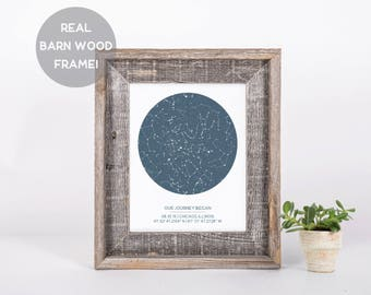 Custom Framed Star Map, Barn Wood Frame, Engagement Gift, New Baby Gift, Wedding Gift, Night Sky Print, Constellation Art, Housewarming Gift