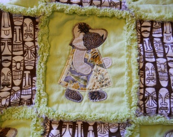 Tropical Tammy With Tikis Green Appliqued Rag Quilt