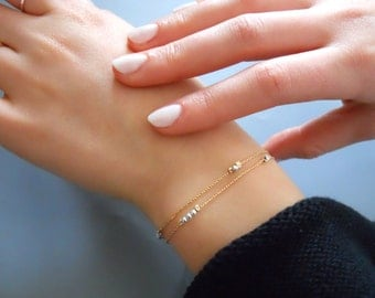 Double Strand Gold Bracelet, Delicate Gold Filled Bracelet With Beads, Thin Gold Bracelet, Dainty Beads Bracelet, Layering Bracelet, #525