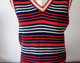 French knit 60s 70s vest red white & blue L