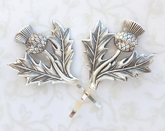Silver Thistle Hairpins, Bobby Pins, Set of 2, Scottish, Woodland, Nature, Rustic, Wedding Bridal Hair