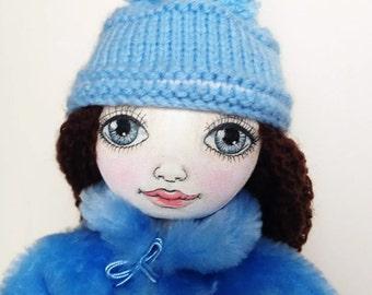 Textile doll, ooak doll,decorative doll, collector dolls, doll cotton, rag doll, art doll, Cristina doll
