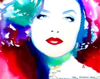 1990s Fashion Illustration Art print Glamour Audrey Original Watercolor Painting Red Hair Salon Decor Glam