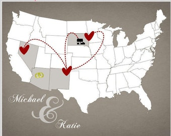 Us Map With Heart Etsy - Us map pictures of couple