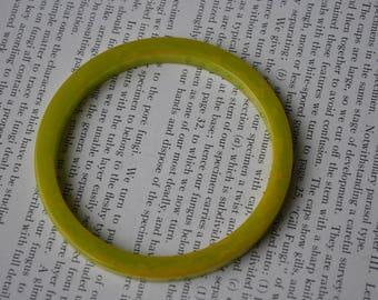 Vintage Green Bakelite Bangle - 1940s Art Deco Style Bakelite Bracelet