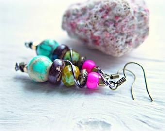 Boho Pink Earrings - Boho Jewelry - Turquoise Earrings - Gypsy Earrings - Hippie Earrings - Ethnic Earrings - Hippie Jewelry