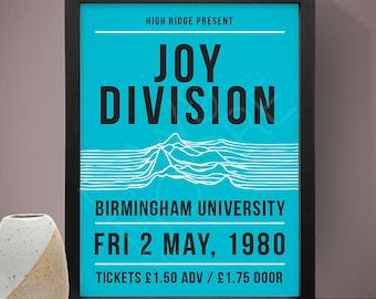 Joy Division - Birmingham University Gig Poster, Concert Poster, Music Print