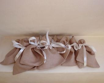 Set of 10 linen favour bags, Wedding favour bags, Scandinavian Fabric
