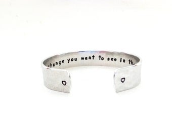 Quote cuff bracelet be the change you want to see inspirational gift for daughters graduation