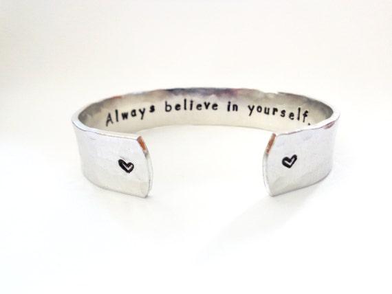 Secret Message Cuff Bracelet, Always Believe In Yourself, Hammered Textured, Customizable