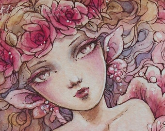 Original Art 5 x 7 Inches - Crown of Roses - Vision of the Spirit of Red Roses - Mixed Media Fantasy Illustration - by Mitzi Sato-Wiuff