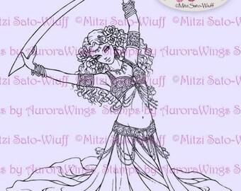 Digital Stamp Instant Download - Desert Rose - Belly Dancer with a Sword - digistamp - Middle Eastern - Fantasy Line Art for Cards & Crafts
