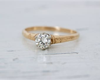 SALE Antique Engagement Ring | Simple Diamond Engagement Ring | Edwardian 14k Gold Wedding Ring | Art Deco Diamond Solitaire Ring | Size 6.5