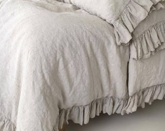 linen duvet cover shabby chic linen ruffled duvet cover with ruffles linen bedding - Comforter Covers