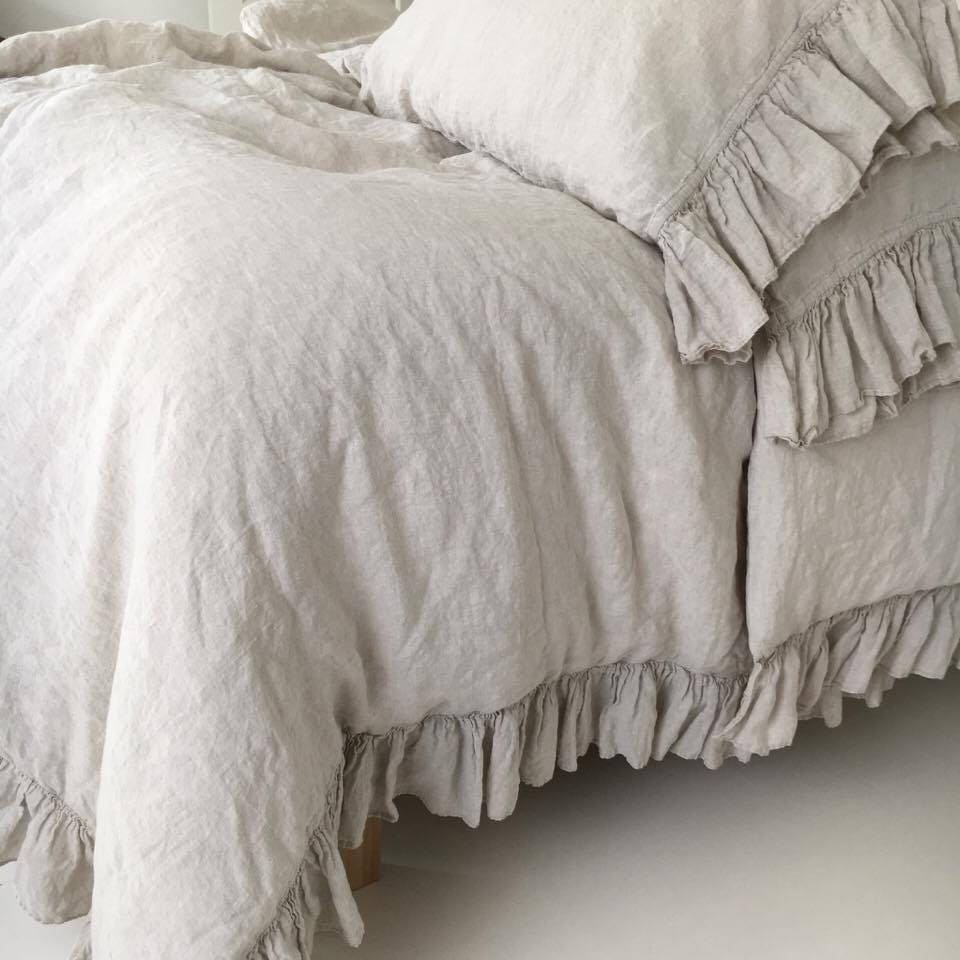 linen duvet cover shabby chic linen ruffled duvet cover with On linge shabby chic