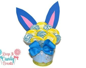 Blue and Yellow Easter Bunny Lollipop Arrangement, Easter Gift, Easter Candy, Lollipop, Candy, Easter Bunny, Gift, Easter Basket, Easter