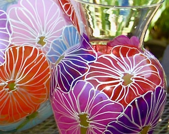 Mother's Day Hand Painted Poppy Vase